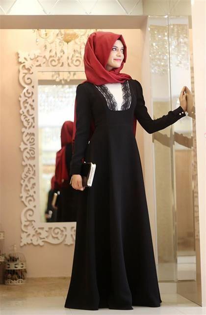 Gamze Polat - Serra Dantelli Elbise Siyah