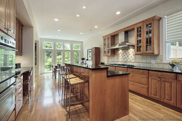 attractive Bar Height Kitchen Cabinets #4: kitchen islands with seating | ... of Kitchens - Traditional - Light Wood Kitchen  Cabinets (Kitchen #151 | Ideas for the House | Pinterest | Traditional, ...