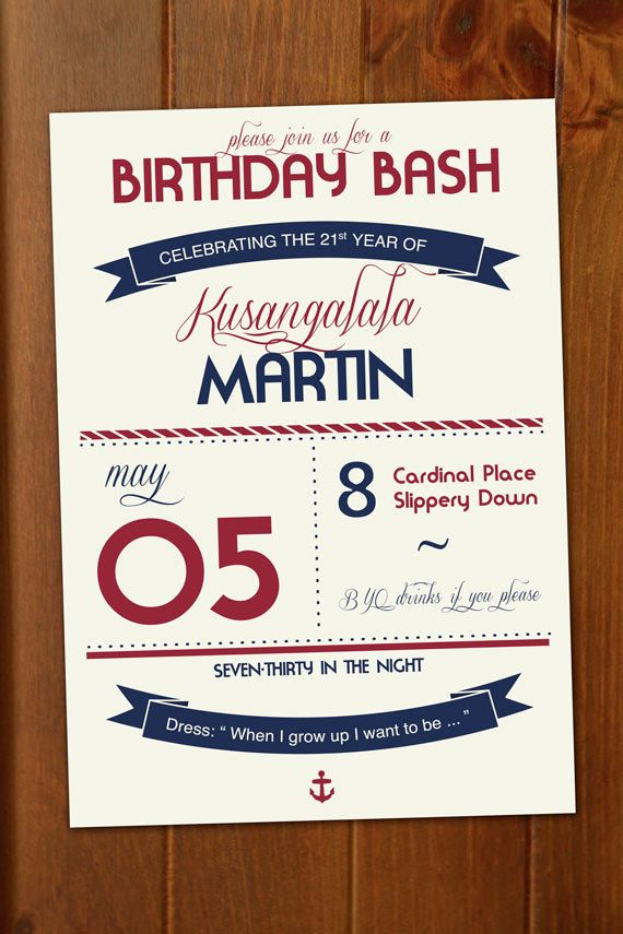 Handsome birthday invite for the young or young at heart>>>>Modern Nautical Birthday Invitation - Custom Printable Event Invitation. $5.00, via Etsy.