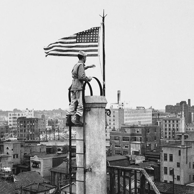 The first American flag to fly over Tokyo after the Japanese surrender in WWII, Nippon News building, Tokyo #usmilitary #military #usa #america #vintage #wwii #japan #tokyo #americanflag #usflag #pride #maga #honor #discipline #history #war #warhistory