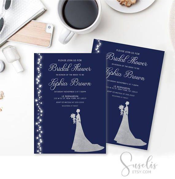 Bridal Shower Invitation Navy Blue Silver Bridal Shower Card