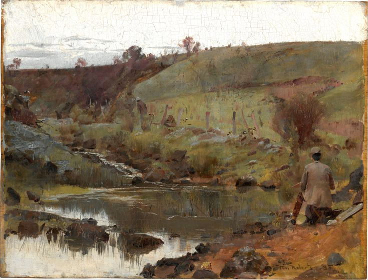 Thumbnail for version as of 06:22, 22 October 2012	 Tom Roberts (1856–1931) Link back to Creator infobox template wikidata:Q1291901  Details of artist on Google Art Project Title	A quiet day on Darebin Creek Object type	Painting,oil on wood panel Date	1885 Dimensions	Height: 264 mm (10.39 in). Width: 348 mm (13.7 in). Current location	 National Gallery of Australia Link back to Institution infobox template wikidata:Q795228