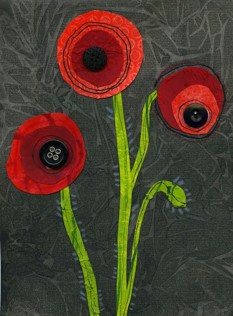Very very cool mixed media idea for Poppy - cool for ANZAC day?  Could do a class version of Flanders fields - with each child doing one poppy.