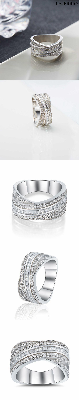 Lajerrio Jewelry Princess Cut White Sapphire S925 Wedding Bands