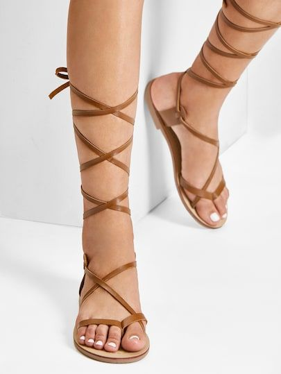 799c2b04f0b8 Lace Up Knee High Gladiator Sandal Boots in 2019
