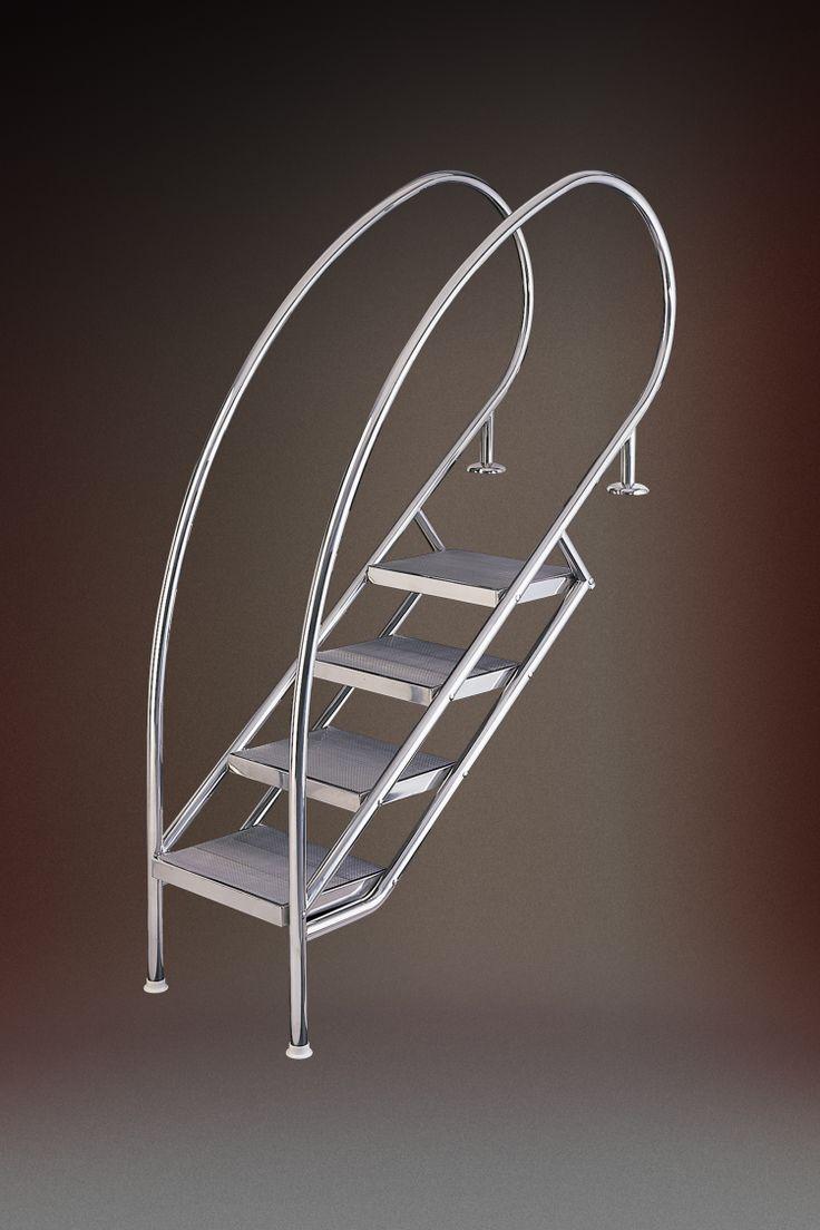 Treppe MIAMI SWING, die elegante Einstiegstreppe von #Eichenwald für Ihren Pool http://www.wellness-stock.de/Schwimmbad/Ersatzteile/Leitern-Treppen