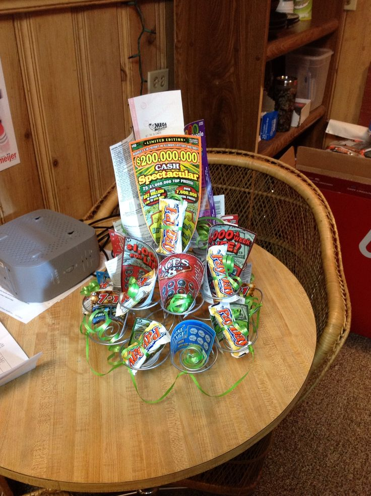 lottery ticket tree using a wire cupcake holder
