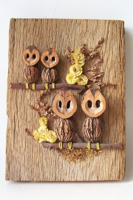 cute owls made from sticks, nuts, moss.