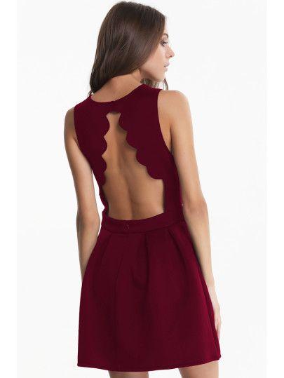 Vestido plisado sin espalda sin manga-rojo
