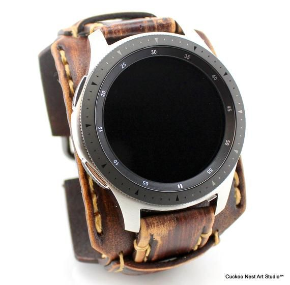 Samsung Galaxy Watch Band 46mm Samsung Galaxy Leather Watch Etsy Leather Watch Cuff Watch Bands Apple Watch Bands
