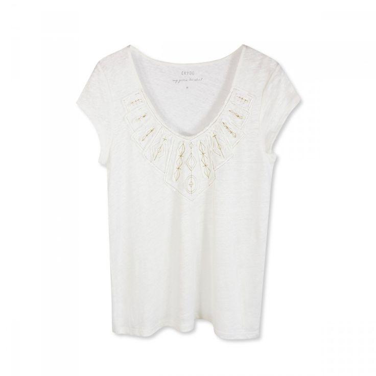 Tee-shirt+à+plastron+appliqué