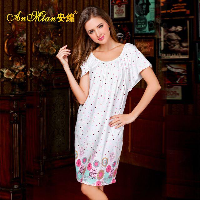2015 Summer women's cotton nightgowns  plus size loose maternity nightwear Loose Short Sleeve Nightdress pajamas for women Z85B7