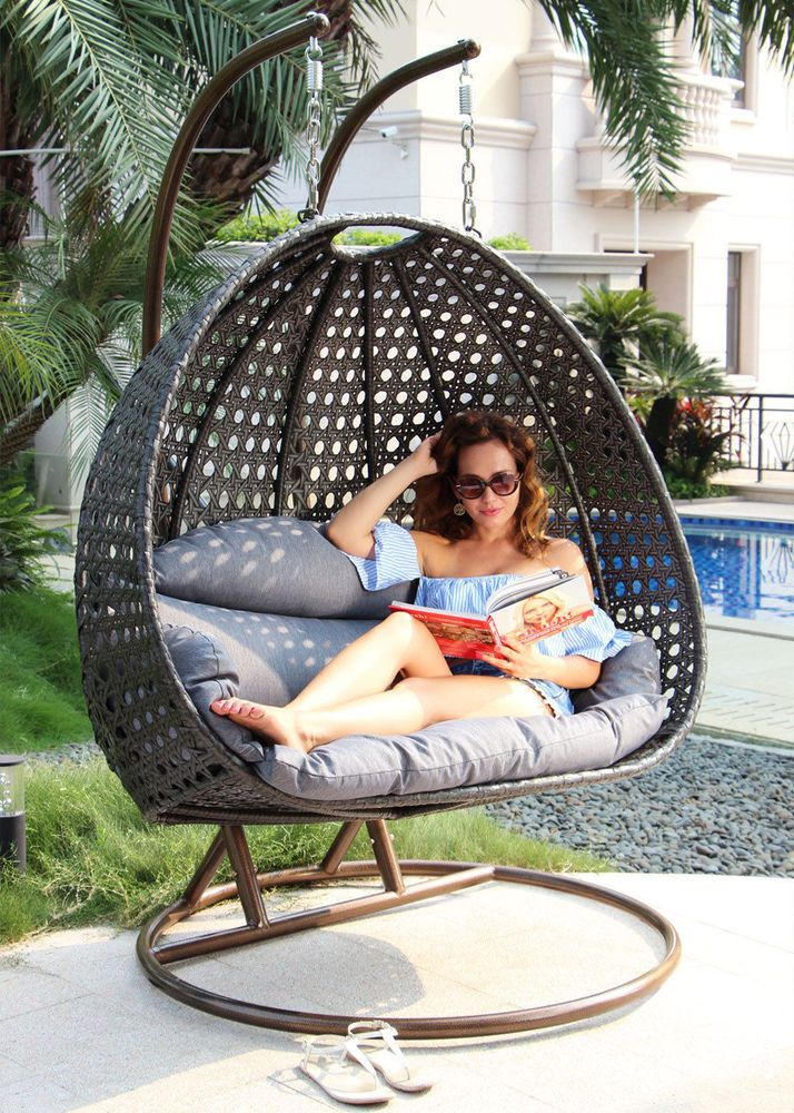 2 Person Wicker Swing Chair Hanging Egg Loveseat Chaise Lounge Charcoal Islandgale