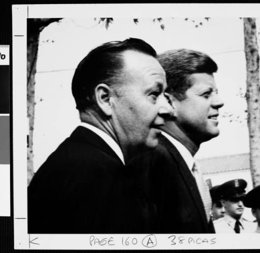 J.F. Kennedy and the USC President Norman Topping during the USC's First Time Voter Convocation, 1960 :: University of Southern California History Collection