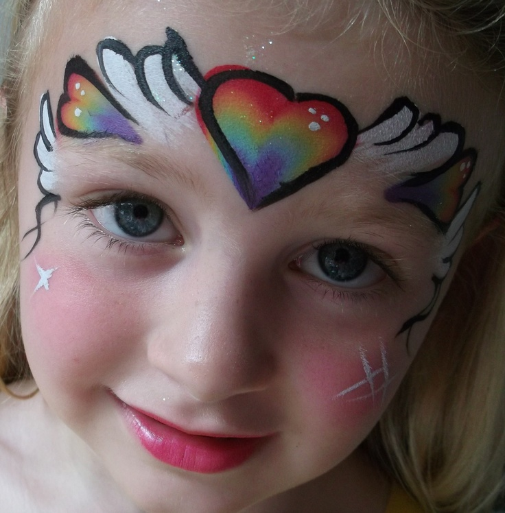 Heart And Rainbow Cheek Art Painting Designs