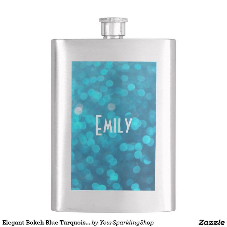 Elegant #Bokeh Blue Turquoise Circles Pattern #Flask