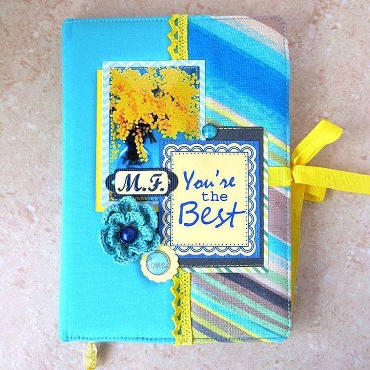 Бирюзово-жёлтый блокнот с комбинированной тканевой обложкой. Формат А5, 100 тонированных листов с линовкой. Коптский переплёт, плетёный каптал. Инициалы будущей владелицы.  #блокноты_астана #блокнотыназаказ #блокнот #notebook #handmade #ручнаяработа