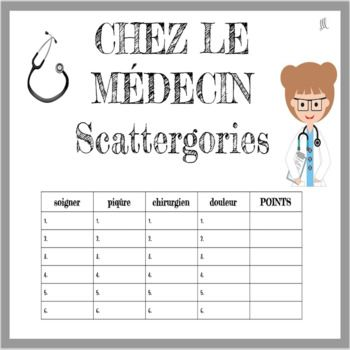 French Doctors and Hospitals Scattergories Game - Chez le Médecin This is a really fun activity to play with your students as they practice and build their doctors and hospitals vocabulary in French. Le Petit Bac - Scattergories sera le jeu parfait!