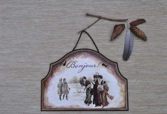 Hanging decoration Bonjour wall hanging, wall decoration romantic home, front door sign, hanging board housewarming gift, victorian inspired