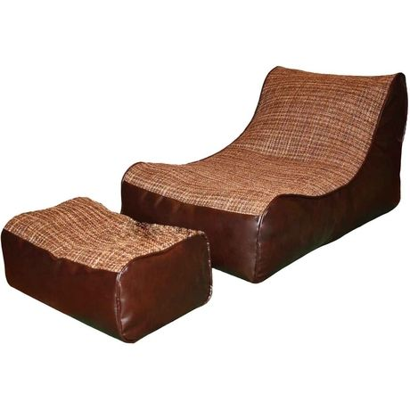 Лежак с пуфом.  Выполненный из экокожи и рогожки этот лежак станет удобным местом для чтения и отдыха. Пуф служит одновременно подушкой для ног или головы.