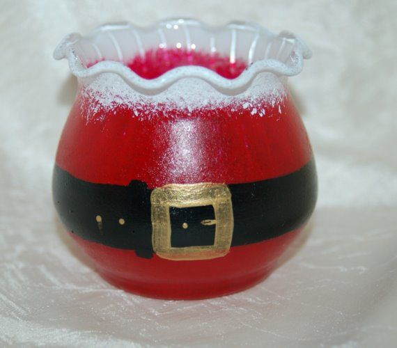 Santa's Belly Candle Holder Hand Painted Glass