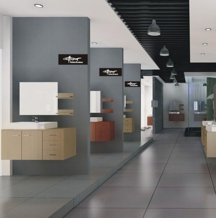 Furniture Store Showrooms: Great Sanitaryware Showrooms With Awesome Wooden
