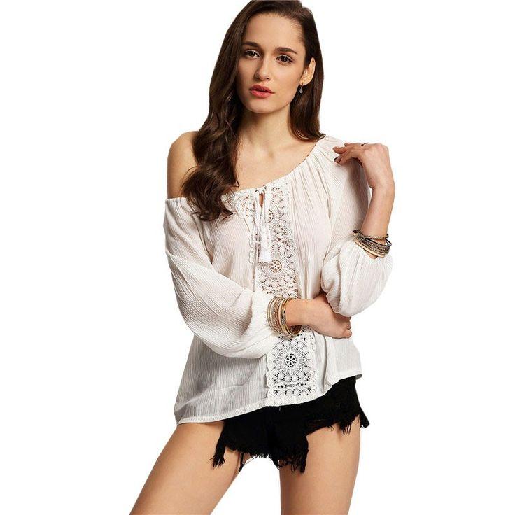 Moda Feminina Calitta Blusa Casual Praia Branca Feminina de Renda Manga Longa, deconte largo com laço. Compre agora nas Lojas Calitta.