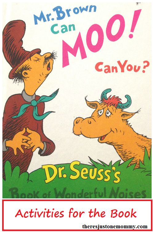Dr. Seuss book activity for Mr. Brown Can Moo! Can You? with free printable -- great kindergarten Dr. Seuss activity
