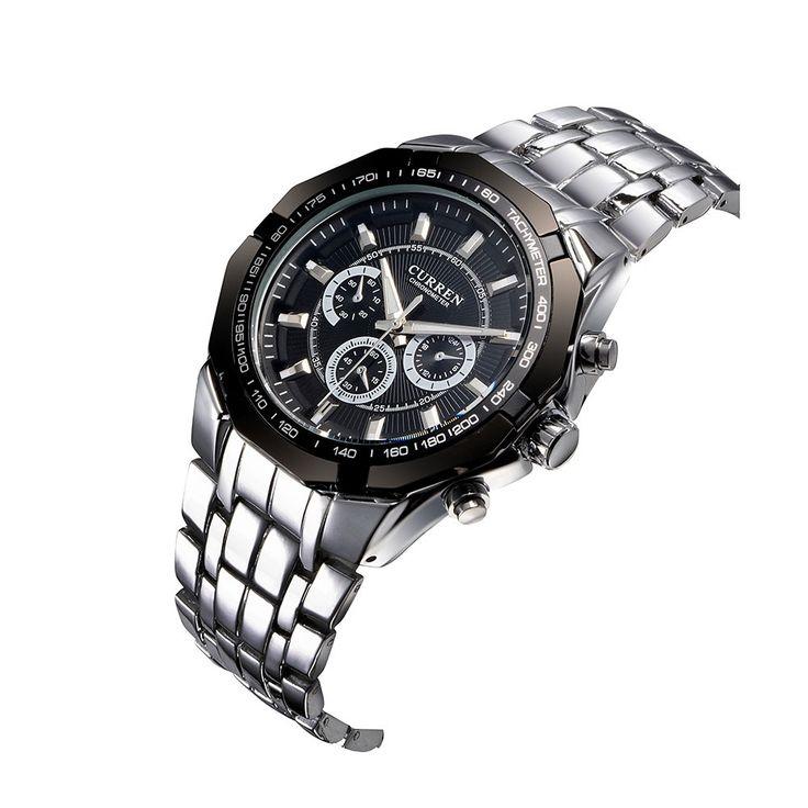Only US$29.99, black CURREN Luxury Quartz Wristwatch Silver Watchband Fashion - Tomtop.com