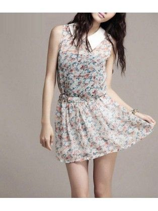 Turndown Collar Sleeveless Sheared Waist Print Chiffon Dress
