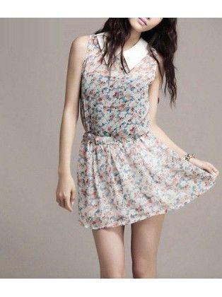 Turndown Collar Sleeveless Sheared Waist Print Chiffon Dress