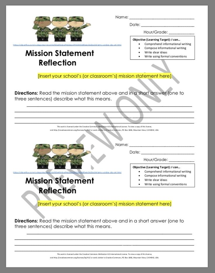 MIDDLE SCHOOL MISSION STATEMENT REFLECTION  -students become familiar w/ the school mission statement & have discussions about it -fun, quick activity at the beginning of the year -It's also a good way to get a sneak peek of students' writing skills quickly, in the first week of school. It can be revisited throughout the year, as well. #middleschool #highschool #backtoschool #missionstatement #schoolculture #TPT #schoolenvironment #teacherresources #classroomresources #classroomactivities