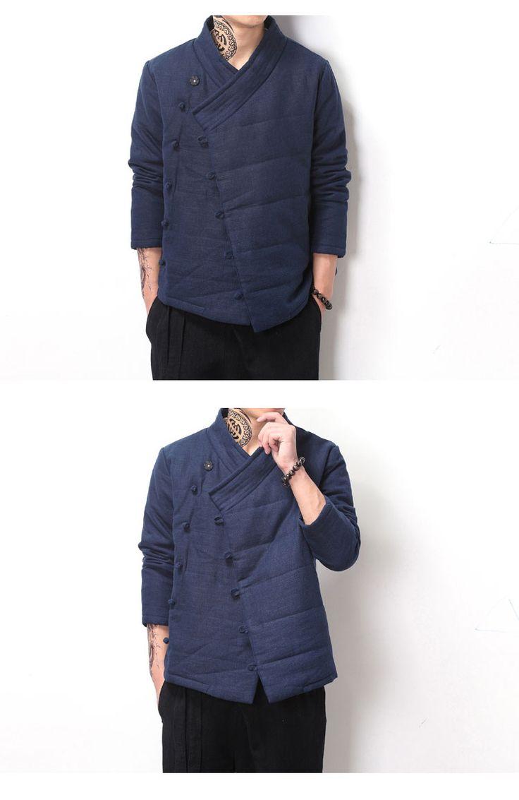 La giacca di Lino e cotone Giovani di sesso maschile e di Costume del VENTO a Maniche lunghe, con abiti di cotone abiti Laici cinesi Han Durante l'autunno e l'inverno attraversano I vestiti.