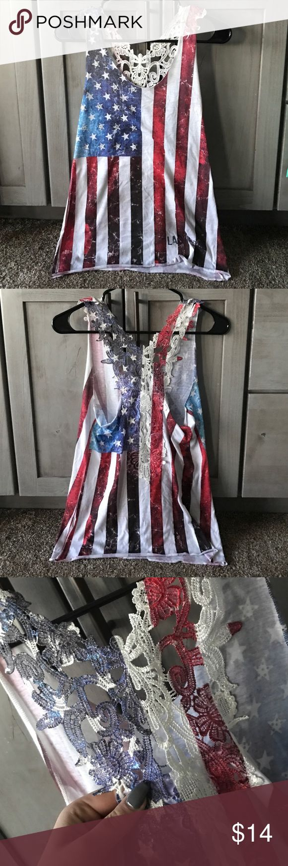 American Flag Tank Top Cute American flag tank top, no wear and tear, with rhinestones on some of the stars on the front! IFSE Tops Tank Tops