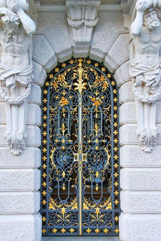 Decorated entrance door