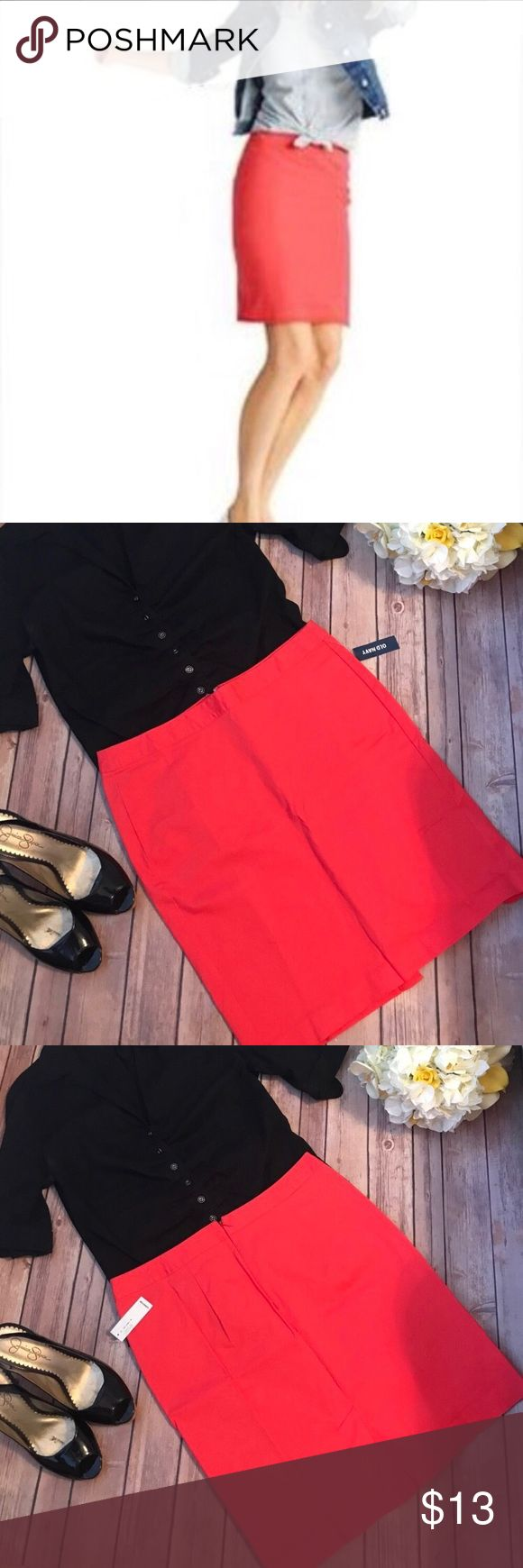 "{Old Navy} Coral Pencil Skirt Brand new with tags attached. 20"" length, 16"" across, 5.5"" slit in the back. 97% Cotton, 3% spandex. Old Navy Skirts Mini"