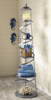 Alexandria Lighthouse Shelf - Its five shelves are perfect for bathroom necessities or decorative items, always in sight and close at hand. The top shelf, enclosed in a wire cage, makes a perfect perch for a candle (not included). Metal spiral body with removable shelves.