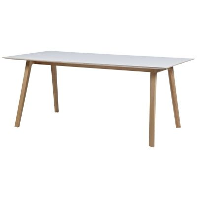 White laminate and oak rectangular dining table
