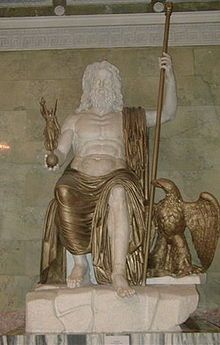 The Statue of Zeus at Olympia was made by the Greek sculptor Phidias, circa 432 BC on the site where it was erected in the Temple of Zeus, Olympia, Greece. It was one of the Seven Wonders of the Ancient World.