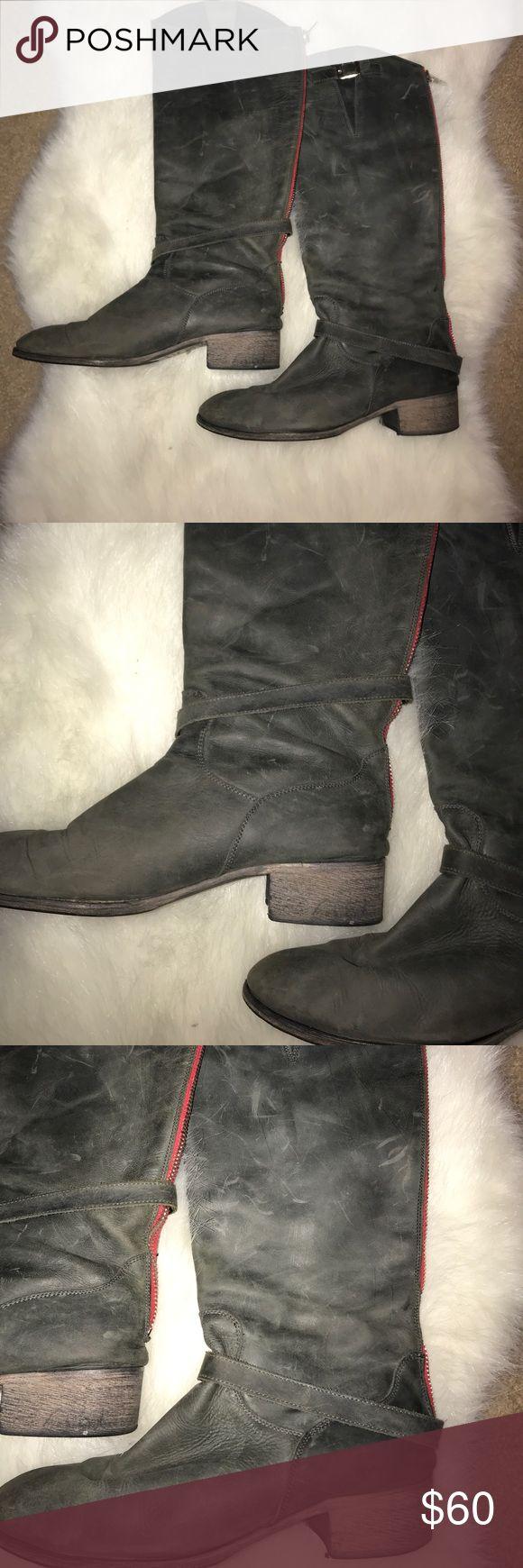 Distressed Charles David gray boot Distressed Charles David gray Boot with red zipper detail Charles David Shoes Combat & Moto Boots