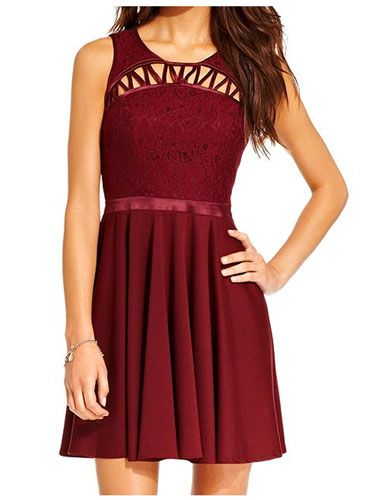 Damas Dresses Under $100 - Dark Red Dress With Cutouts