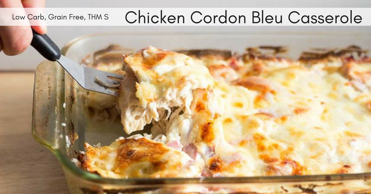 This Chicken Cordon Bleu Casserole is quick and easy. It has shredded chicken, ham, and swiss in a creamy dijon sauce. It is low carb, grain free, & THM S.