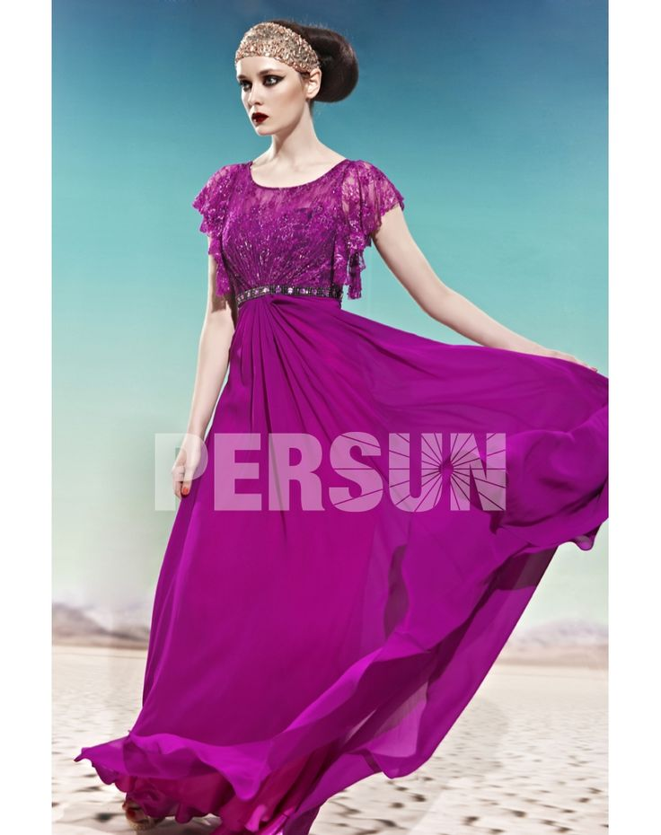 CHIFFON SCOOP BEADING LACE RUFFLES SLEEVE FUCHSIA PROM / EVENIN purple prom dresses