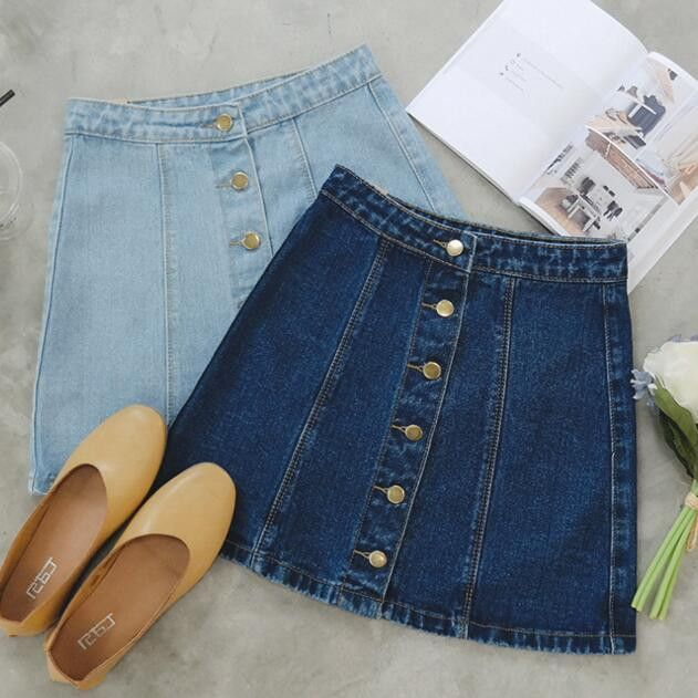 """Item Type: Skirts Material: Denim Pattern: Solid Color Style: Fashion Color: Light Blue, Dark Blue Size: XS (US Size) Bust: 31-33"""", Waist: 23-25"""", Hips: 33-35"""" S (US Size) Bust: 33-35"""", Waist: 25-27"""","""