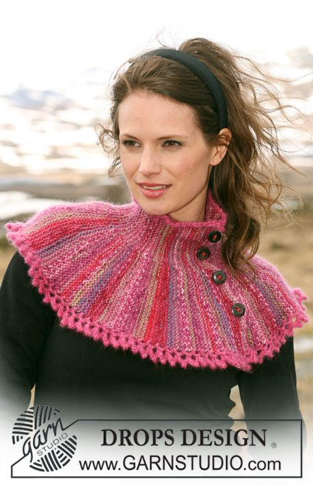 """DROPS shoulder wrap knitted from side to side in """"Fabel"""" and """"Kid-Silk"""" with buttons. ~ DROPS Design - free"""