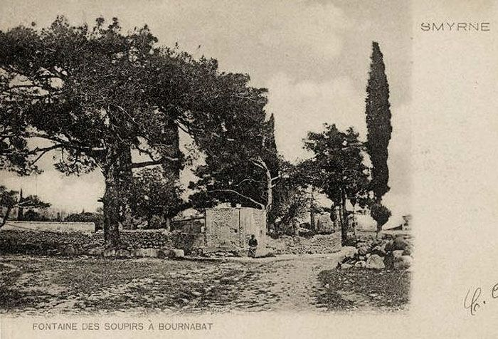 An archive postcard showing a water-point 'of sighs' in old Bournabat