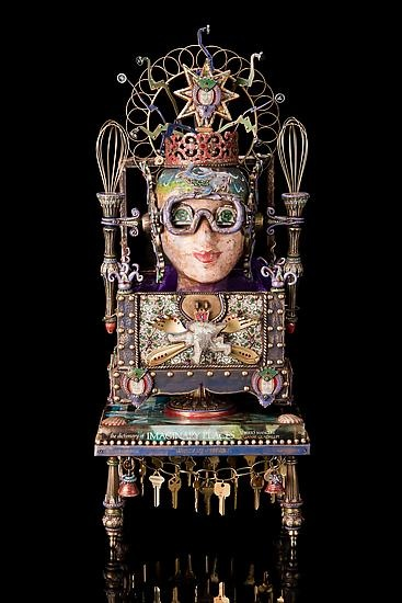 """OOAK.Mixed-Media Sculpture.Creator Heather Campbell.Assemblage found objects...wall sconces,typewriter keys,whisks,keys,fireplace tool finials,beads,books,goggles,etc.Polymer clay,acrylic paint,paper mache transfers=unify components into detail""""Dictionary of Imaginary Places""""&""""Book of Clowns"""" R foundation4""""Imagination Celebration""""Einstein said""""want kid 2b brilliant read them fairy tales,want kid 2b geniuses read more fairy tale"""" $2400@artfulhome.com"""