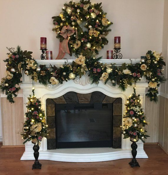 Set Of 4pc Christmas Wreath Garland Free Shipping Christmas Garland Christmas Swags Candle Stand Ivory Cor Christmas Swags Christmas Garland Christmas Deco