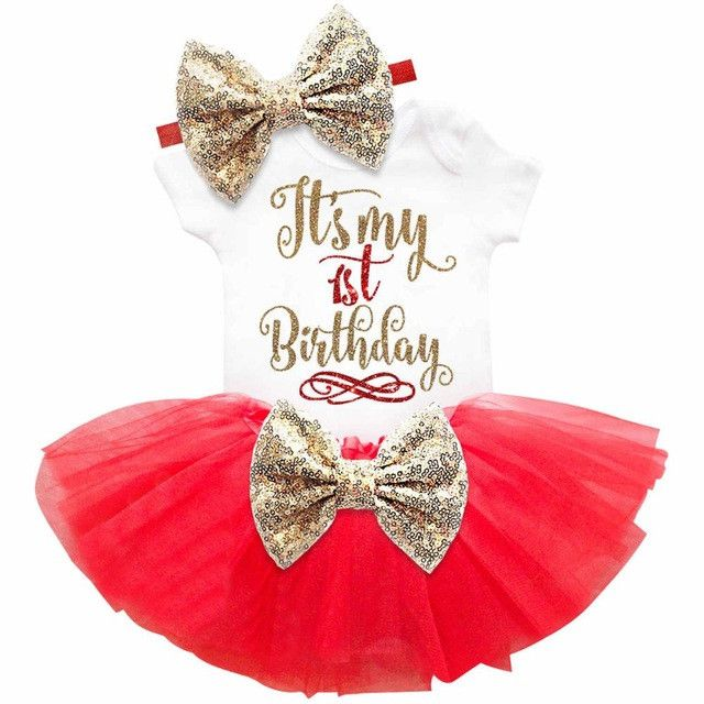 New Baby Girl Clothing Summer Sequin Bow Tutu Newborn Dress (Tops+Headband+Dress) 3pcs Clothes Bebe First Birthday Elsa Costumes