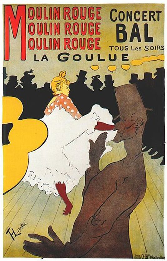 #MoulinRouge #Toulouse-Lautrec. When the cabaret opened, Lautrec was commissioned to create a series of posters, with this design being one of his most well known. The piece features images of Moulin Rouge dancer La Goulue and her partner Valentin le Desosse. Lautrec captured La Goulue's provocative kicks and Valentin's lanky frame perfectly in this design. #poster